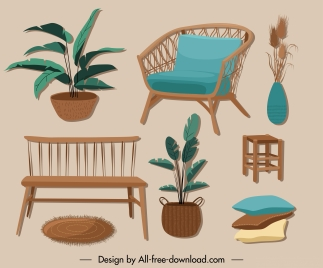 furniture icons colored classic design