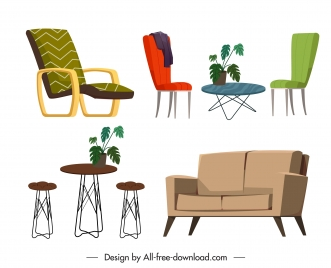 furnitures icons tables chairs sketch contemporary design