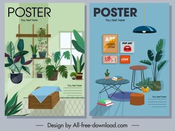 furnitures poster templates houseplants decor