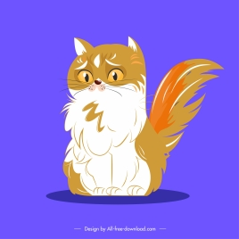 furry cat icon sad emotion sketch cartoon design