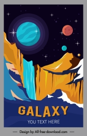 galaxy poster planets scenery sketch colorful design