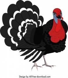 galliformes icon turkey sketch classical colored cartoon sketch