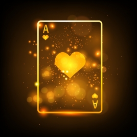 gambling card background sparkling yellow decoration heart icon