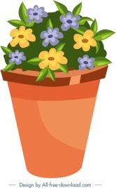 garden design element flower pot icon colorful decor