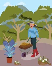 garden work background man wheelbarrow icons cartoon design