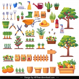 garden work design elements colorful products tools sketch