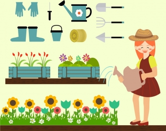 gardening design elements human tools icons colorful design