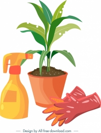gardening design elements plant gloves sprayer icons