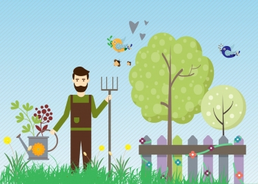 gardening theme man with tools decoration colorful design