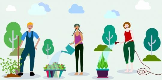 gardening work background human tree icons cartoon design