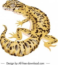 gecko painting colored 3d sketch spotted decor