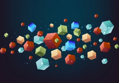 geometric background colorful 3d cubes icons