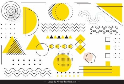 geometric background template colored flat handdrawn sketch