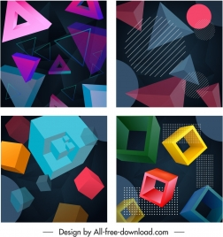 geometric background templates 3d triangles squares circles decor