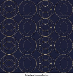 geometric circles pattern template dark symmetric decor