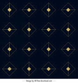 geometric pattern flat dark decor symmetric polygon sketch