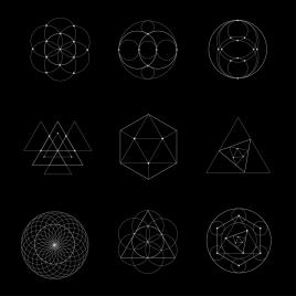 geometry icons outline dark design