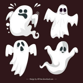 ghost icons classical shapes dynamic cartoon characters