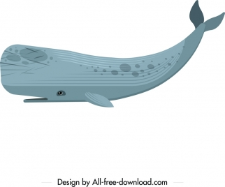 giant whale icon colored flat sketch