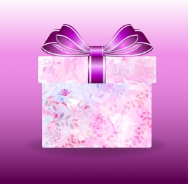 gift box background flowers ornament violet design
