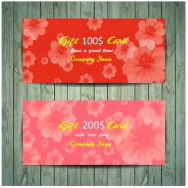 gift card design on red flowers background