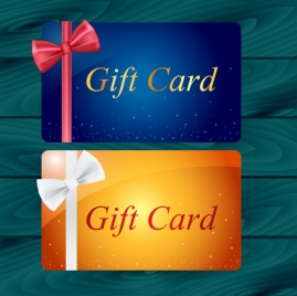 gift card template sets bright sparkling style ribbon ornament