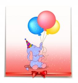 gift decor with cartoon elephant and balloon