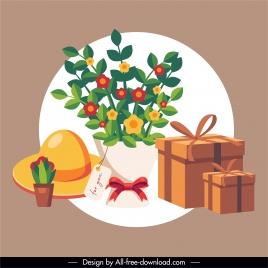 gift design elements bouquet present box sketch
