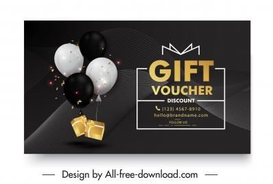 gift voucher template luxury dark balloon presents decor