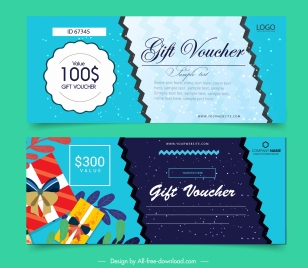 gift voucher template starry background colorful present decor