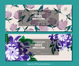 gift voucher templates colored elegant floral decor