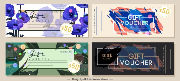 gift voucher templates colorful classical nature abstract themes