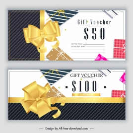 gift voucher templates colorful modern knots presents decor