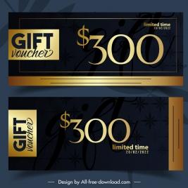 gift voucher templates contrast design luxury golden decor
