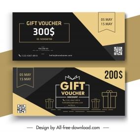 gift voucher templates dark elegance flat design