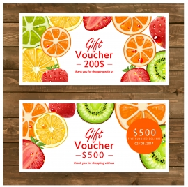 gift voucher vector illustration with various fruits background