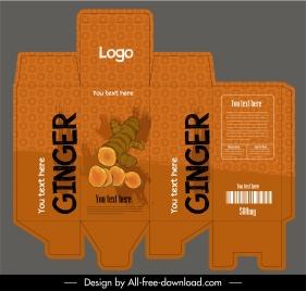 ginger packaging template retro dark brown handdrawn grunge
