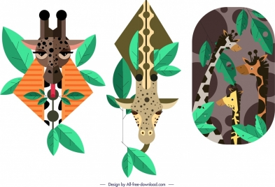 giraffe background templates colored flat design