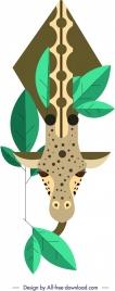 giraffe painting colored classical geometrical design