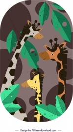 giraffe painting colorful flat design cartoon characters