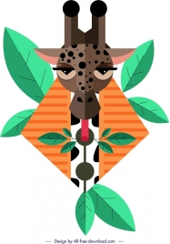 giraffe painting face leaves icons decor geometric design