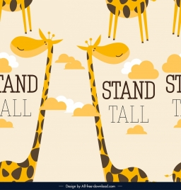 giraffe pattern template cute cartoon character sketch