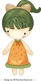 girl doll icon cute colored cartoon sketch