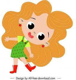 girl icon cute cartoon character sketch