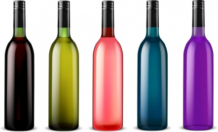 glass bottle icons collection multicolored shiny design