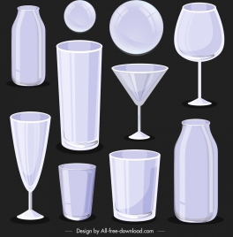 glass objects icons shiny modern 3d sketch