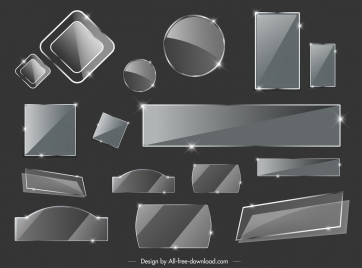 glass tags templates shiny modern twinkling design