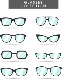 glasses collection various types isolation