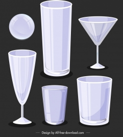 glassware icons modern 3d blank sketch