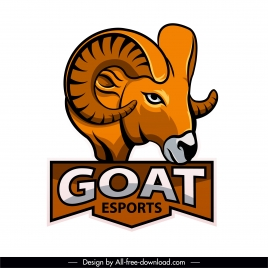 goat logo icon template colored handdrawn sketch